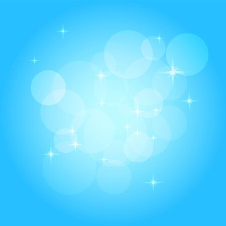 Christmas background with bokeh, sparkles and stars. Soft light blue gradient. Abstract vector design. Winter shiny pattern for postcard, presentation, invitation, greeting card, flyer, leaflet. Creative illustration