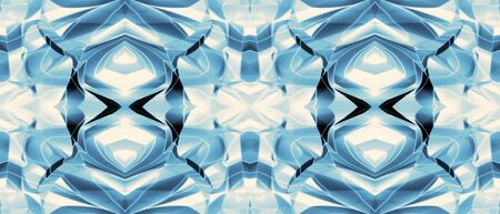Blue technology symmetric pattern. Geometric background. Kaleidoscope effect. Abstract futuristic design for web banner, website, landing page, business card, industrial and scientific concepts