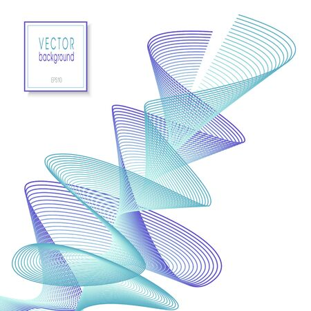 Abstract purple, teal waveform. Techno line art design. Multicolored swirl pattern, spiral shape. White background. Squiggly subtle curves. Vector dynamic twisted lines. EPS10 illustration