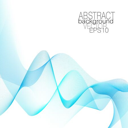 Flowing light blue waves. Airy line art design. Vector abstract pattern, squiggle colored thin lines. White background. Elegant transparent scarf. Silk veil imitation. Shiny waveform, soft moire. EPS10 illustration 矢量图像
