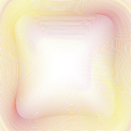 Light background of yellow, red, orange undulating lines. Soft multicolored gradient. Creative line art design. Abstract glowing curves. Vector striped template with moire. Elegant bright colored illustration