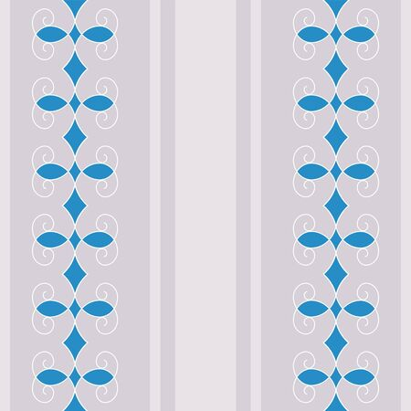 Elegant seamless pattern with strips and colored curved shapes. Blue abstract ornament on a gray background. Stylish fashion design for textile, fabric, wallpaper, wrapping paper. Vector illustration Illustration
