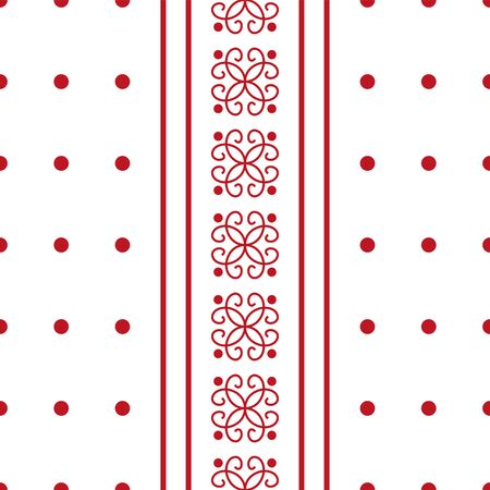 Floral red ornament in vertical strips, small red circles in a row. Seamless abstract pattern. White background. Elegant design for fashion art, textile, wallpaper, wrapping paper. Vector creative illustration