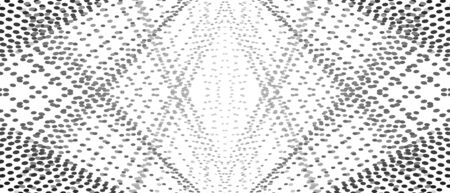 Symmetric pattern of black, gray points. Intersecting straight dotted lines. Rhombus shape of small spots. Vector monochrome background. Op art design. Abstract digital graphic for banner, website. Creative illustration