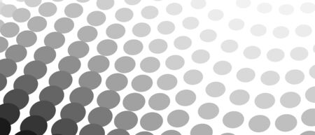 Black and gray circles on a white background. Halftone pattern with gradient. Monochrome spotted curves. Technology design. Vector abstract op art graphic. Diagonal lines. EPS10 illustration