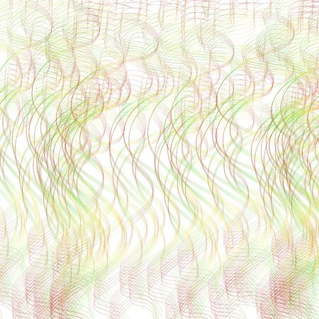 Light red, yellow, green squiggle curves. Background with textured pattern. Vector line art design. Hand drawn pencil drawing imitation. Abstract waving strokes. Contemporary digital template for creative concepts. Multicolour wallpaper. Creative illustration
