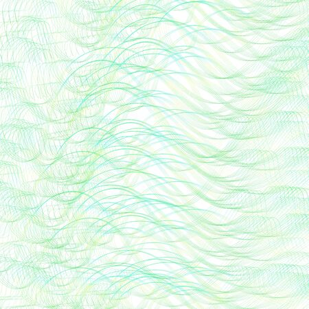 Green, yellow, blue pattern of chaotic squiggly curves. Textured background. Vector line art design. Abstract wavy strokes. Multicolor wallpaper. Modern digital template for creative concepts. Hand drawn pencil drawing imitation. Creative illustration