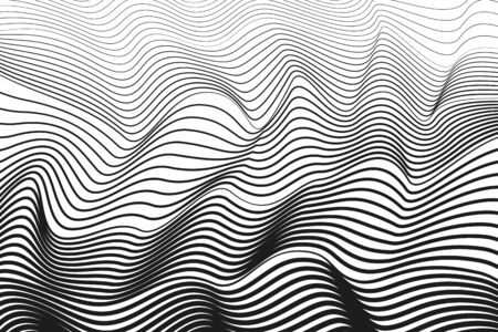 Black squiggle curves, white background. Abstract line art design. Vector techno optical illusion. BW striped pattern. Radio, sound waves concept. Monochrome texture with gradient. Creative illustration 矢量图像