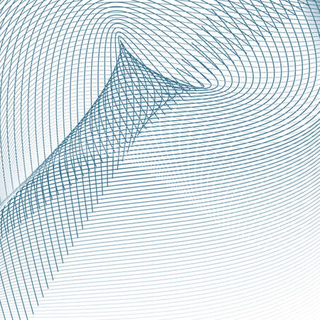 Energy, power concept. Industrial style. Sound, radio waves. Navy blue, gray intersecting curves. Abstract technology design. Vector line art pattern. White background. Subtle lines, illustration Illustration
