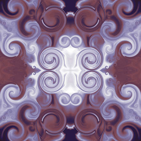 Symmetric ornament in purple and maroon. Baroque stylized pattern with scrollworks and circle motifs. Abstract background. Design for upholstery and drapery material, creative fashion concepts, fabric, tapestry, home decor 免版税图像
