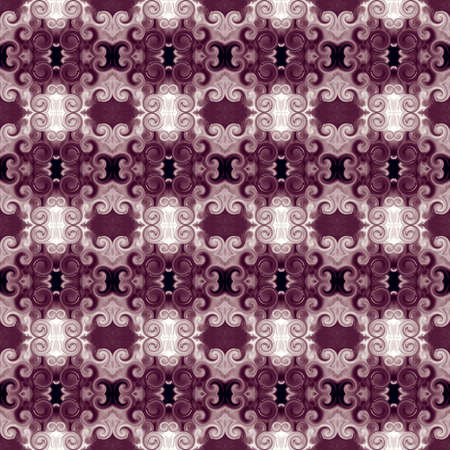 Ornament with scrollworks and circle motifs in bordo hues. Seamless pattern in Baroque style. Abstract background. Luxurious design for upholstery and drapery material, creative fashion concepts, fabric, tapestry, home decor