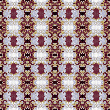 Royal ornament with scrollworks and circle motifs. Bordo, gold, gray colored seamless pattern. Stylized Baroque style. Abstract background. Ritzy design for upholstery and drapery material, fashion concepts, fabric, tapestry, home decor Standard-Bild