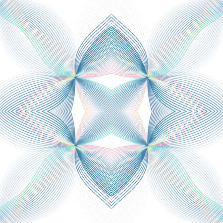 Symmetric line art ornament. Vibrant gradient of blue, teal, pink, yellow colors. Kaleidoscope pattern. Abstract geometric background. Technology design. Glowing multicolored subtle curves