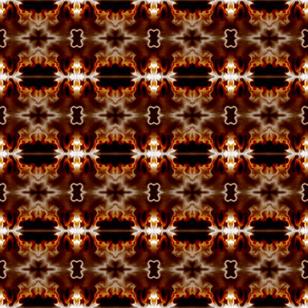Brown, orange, white mystic ornament. Seamless pattern in Gothic style. Abstract background, flame stylization. Stylish design for upholstery and drapery material, creative fashion concepts, fabric, tapestry, home decor 免版税图像