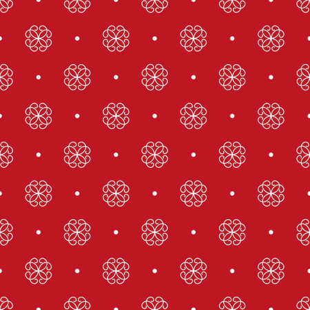 Stylized white flowers and spots. Seamless pattern. Traditional ornament on a red background 免版税图像