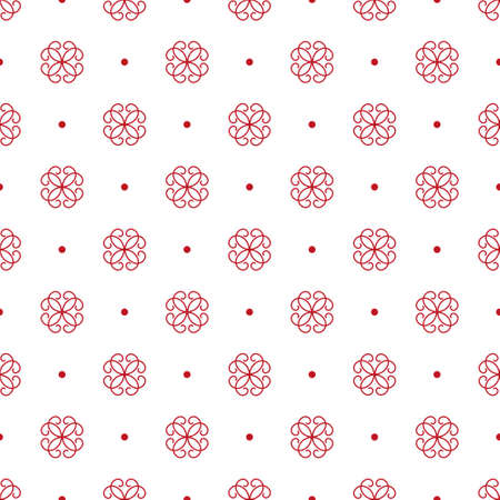 Stylized red flowers and spots. Seamless pattern. Traditional ornament on a white background