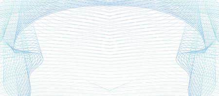 Light blue, teal, green symmetric vignette. Guilloche as draped textile. Elegant frame. Vector abstract background. Line art pattern. Subtle curves. Design for certificate, check, coupon, gift card, invitation. EPS10 illustration
