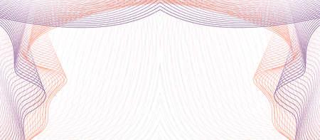 Purple, orange symmetric vignette. Guilloche as draped textile. Elegant frame. Vector abstract background. Line art pattern. Subtle curves. Design for certificate, check, coupon, gift card, invitation. EPS10 illustration