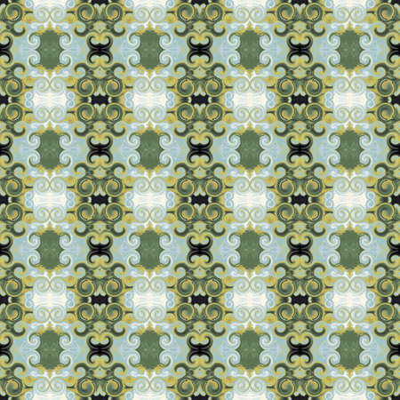 Stylized Baroque ornament with scrollworks and circle motifs. Fern green, mint, gold, colored seamless pattern. Royal style. Abstract background. Ritzy design for upholstery and drapery material, fashion concepts, fabric, tapestry, home decor Standard-Bild
