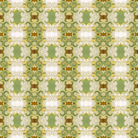 Elegant Baroque seamless pattern. Ornament with scrollworks and curlicues. Pistachio green, golden, brown colors. Abstract background. Design for upholstery and drapery material, fashion concepts, fabric, tapestry, home decor