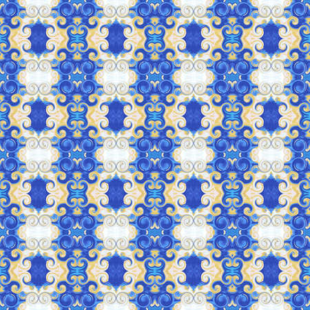 Blue, golden royal seamless pattern. Ornament with scrollworks and circle motifs. Baroque stylization. Abstract background. Design for upholstery and drapery material, fashion concepts, fabric, tapestry, home decor