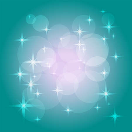 Mysterious teal background. Magical pattern of bokeh, sparkles and stars. Saturated teal, pink, white color gradient. Abstract vector design. Vivid template for poster, invitation, greeting card, flyer, leaflet.