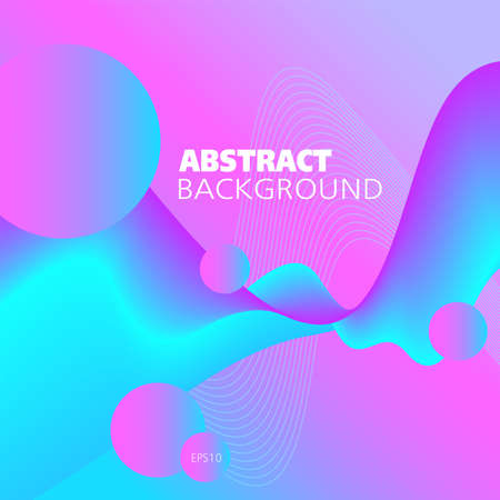Liquid neon colored background. Bright pink, magenta, blue, cyan fluid. Abstract wave pattern and circles. Flowing 3d shape, motion illusion. Futuristic design for bold concepts, website templates, promotion materials. Ilustração