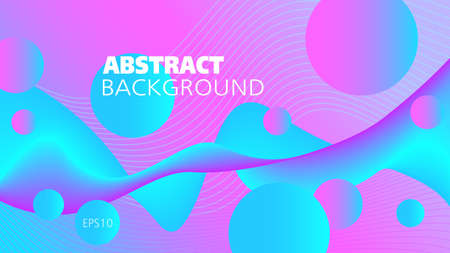 Bright cyan, purple fluid on a blue, magenta background. Flowing liquid illusion. Abstract wave pattern and spheres. Neon colored 3d shapes. Futuristic design for landing page, flyer, poster, promotion materials. illustration