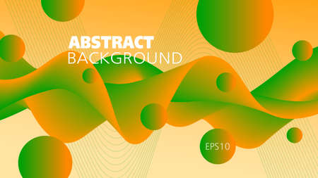 Bright orange, green fluid. Colored background. Abstract wave pattern and spheres. Flowing 3d shape, motion illusion. Futuristic design. Template for landing page, flyer, poster, leaflet