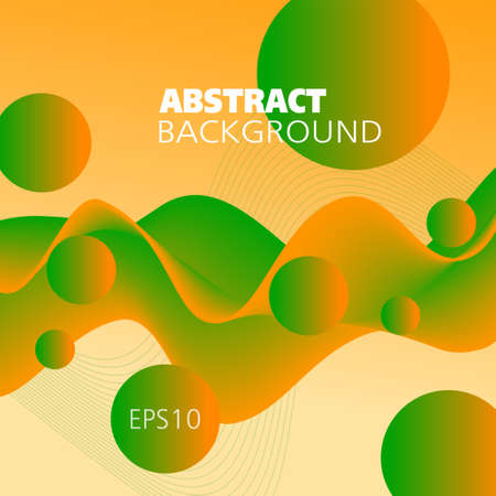Bright orange, green fluid. Colored background. Abstract wave pattern and spheres. Flowing 3d shape, motion illusion. Futuristic design for bold concepts, website templates, posters, flyers. illustration
