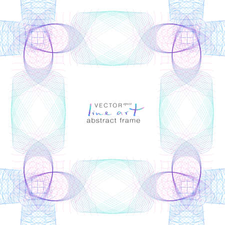 Open-work frame of tangled subtle lines. Turquoise, violet, purple, blue gradient. Symmetric abstract pattern. Modern vector line art design. Squiggly multicolored curves. White background. EPS10 illustration