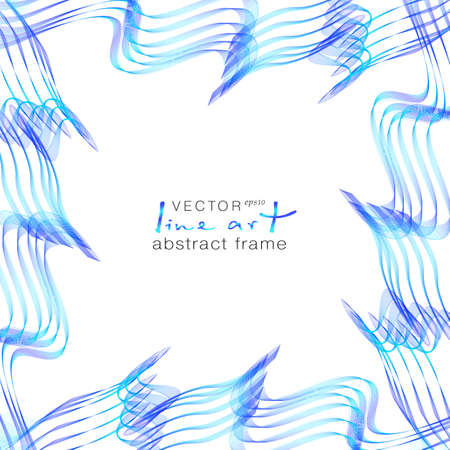Blue wave frame of line art design. Abstract border with stylized sea waves. Squiggly thin lines on a white background. Dynamic pattern, symmetric curves. Vector template with copy space. Ilustrace