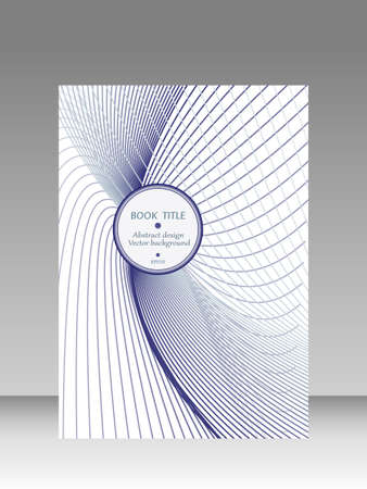 Book cover with blue, gray, white line art pattern. Round copy space. Abstract background. Technology design. Vector template. Layout A4 for brochure, portfolio, leaflet, catalog, poster, flyer. EPS10 illustration