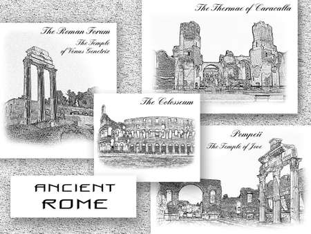 Antique landmarks of Italy. The Roman Forum, the Colosseum, the Thermae of Caracalla in Rome, ruined Pompeii. World famous sights of ancient Roman culture. Travel collage, souvenir postcard design