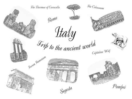 Italy: Trip to the ancient world. Concept postcard design, travel collage. Famous Italian landmarks: Forum Romanum, Thermae of Caracalla, The Colosseum, Arch of Septimius Severus, Capitoline Wolf, Rome, Pompei, Segesta views