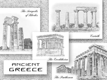 Antique landmarks of Greece. The Parthenon and the Erechtheion in Athens, the Acropolis of Rhodes, Temple of Apollo in Corinth. World famous sights of ancient Greek culture. Travel collage, souvenir postcard design