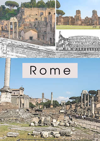 Travel collage with ancient roman landmarks: Forum Romanum, Thermae of Caracalla, The Colosseum, Arch of Septimius Severus. Touristic concept template for covers, brochures, booklets, flyers, posters, travel guides about Rome and Italy