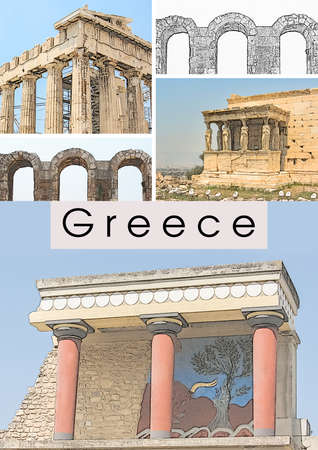 Travel collage with ancient greek landmarks: Athens Acropolis (Parthenon, Erechtheum, Odeon of Herodes Atticus), Knossos palace on Crete. Touristic concept template for covers, brochures, booklets, flyers, posters, travel guides about Greece Reklamní fotografie
