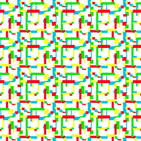 Blue, red, green, yellow rectangles and squares on a white background. Bright mosaic. Multicolored geometric seamless pattern. Abstract minimalist design. Narrow and thick strips