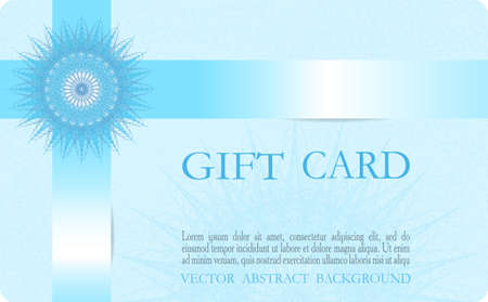 Gift card conceptual design. Blue snowflake and glowing ribbon. Elegant guilloche. Abstract background. Line art pattern. Vector layout for coupon, certificate, voucher, Christmas postcard, invitation. EPS10 illustration