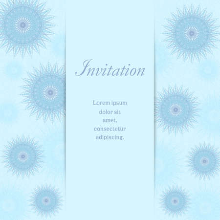 Elegant invitation with blue snowflakes. Winter template in pastel hues. Abstract background. Vector line art pattern. Design for gift card, coupon, certificate, Christmas party, New year postcard. EPS10 illustration