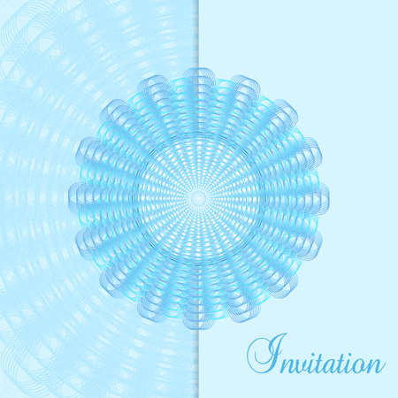 Party invitation decorated with blue round line art pattern. Vector openwork design element. Abstract background. Elegant for gift card, coupon, certificate, Christmas party, New year postcard, music festival. EPS10 illustration
