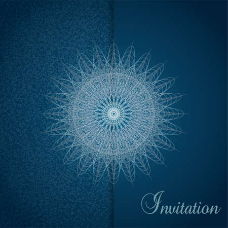 Invitation template with openwork snowflake and vignette. Mysterious abstract background in Prussian blue color. Vector line art pattern. Design for gift card, coupon, Christmas party, New year postcard, brochure. illustration Stock Illustratie
