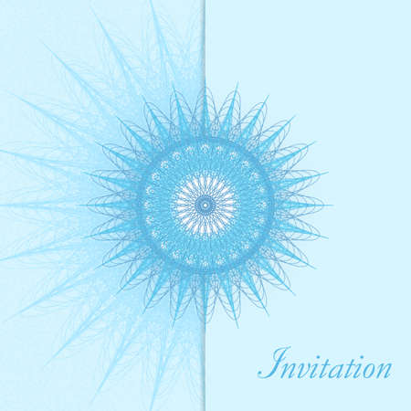 Winter invitation design. Large blue snowflake. Elegant abstract background. Vector line art pattern, retro motif. Artistic template for gift card, coupon, Christmas party, New year postcard, brochure.