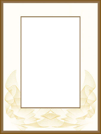 Golden line art design for passe-partout. Vintage border with guilloche pattern. Brown vector picture frame. Abstract background. Template A4 for certificate, diploma, invitation. Beige space for text.