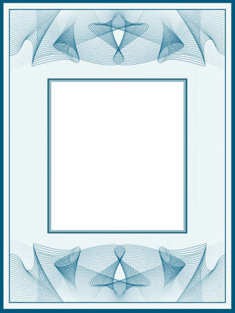 Blue-green line art design for passe-partout. Vintage border with guilloche pattern. Vector picture frame. Abstract background. Template A4 for certificate, diploma, invitation. Beige space for text.