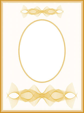 Vintage passe-partout with oval frame. Graceful line art pattern. Retro border design with golden vignette. Vector abstract background. Template A4 for album page, certificate, diploma, invitation. illustration