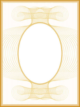 Passe-partout design in retro style. Oval picture frame. Graceful line art pattern. Vintage border with golden guilloche. Vector abstract background. Template A4 for album page, certificate, diploma, invitation. illustration