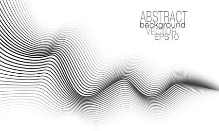Monochrome wave concept. Black, gray, white undulating curves. Technology background. Line art pattern. Vector graphic design. Abstract template for business card, catalog cover, brochure, leaflet, flyer, poster, banner. EPS10 illustration Çizim