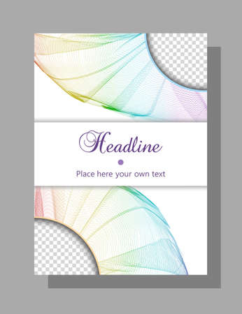 Book, brochure cover design. Vector template for catalog, magazine, booklet, portfolio, leaflet, poster, flyer. Layout A4. Rainbow net pattern. White horizontal card for a headline. Abstract background. EPS10 illustration Stock Illustratie